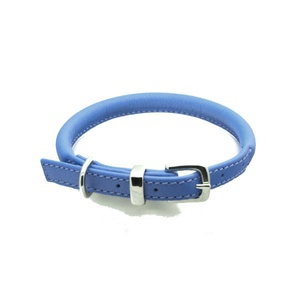 D&H Rolled Leather Collar - Blue