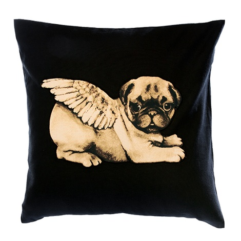 Biddy Pug Cushion Cover - Black with White Pug