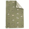 Dogs Linen Tea Towel - Green 2