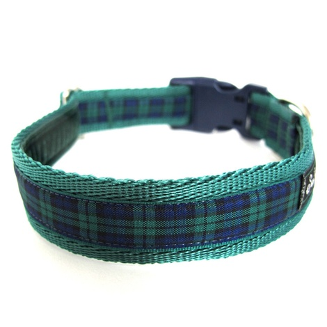 Green Tartan Dog Collar  2