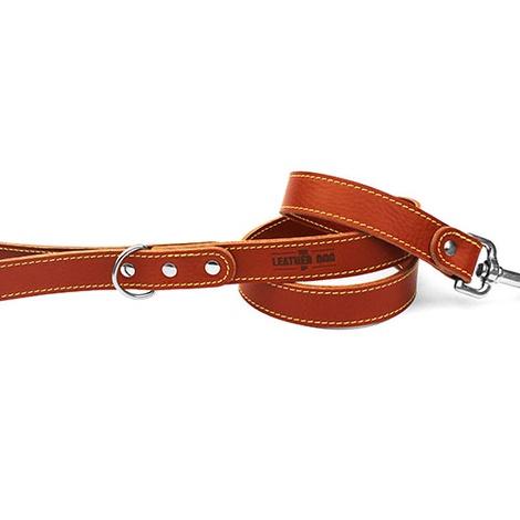 Tan Brown Leather Dog Lead 2