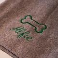 Personalised Brown Bone Dog Towel - Italic font 2