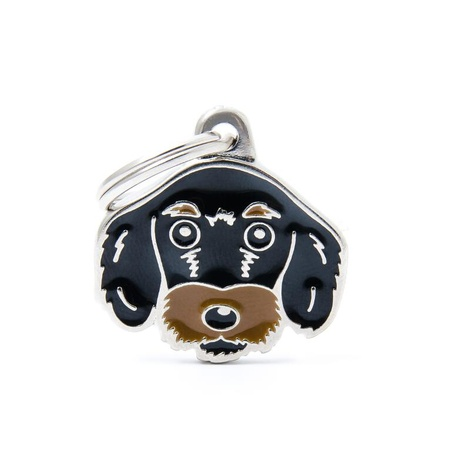 Wire-Haired Dachshund Engraved ID Tag – Black