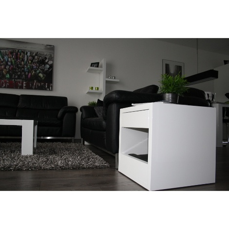 Bloq Pet Bed & Side Table - White 3