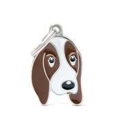 My Family - Basset Hound Engraved ID Tag