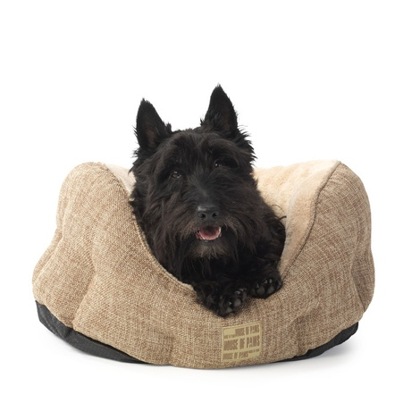 Natural Hessian Oval Dog Bed