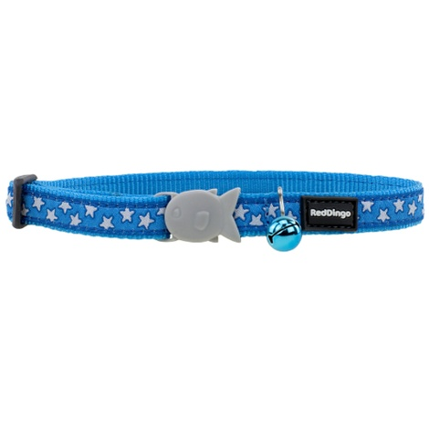 Red Dingo Patterned Cat Collar - Turquoise/White Stars