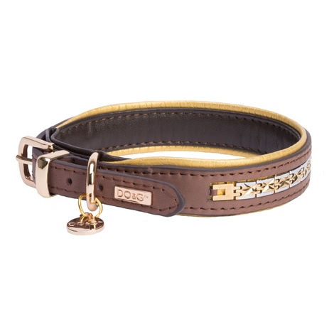 DO&G Precious Metals Dog Collar - Brown & Gold