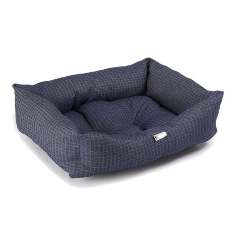 Denim Check Dog Bed