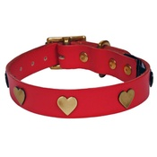 Creature Clothes - Brass Hearts Studs Leather Collar - Red