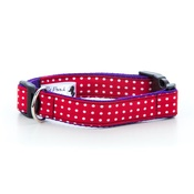 "Pet Pooch Boutique - Polka Dot Print Dog Collar - Red 1"" Width"