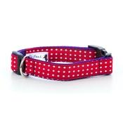 "Pet Pooch Boutique - Polka Dot Print Dog Collar - Red 1"" Width"