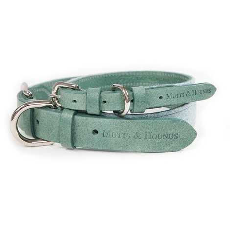 Teal Tweed & Leather Dog Collar 2