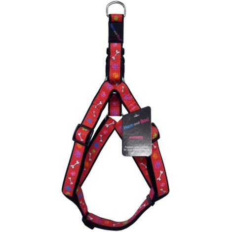 Red Paws & Bones Dog Harness