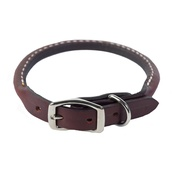 Auburn Leathercrafters - Rolled Leather Dog Collar – Burgundy