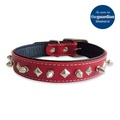 Studded Spikes Red Leather Collar