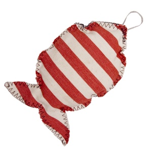 Fat Catnip Fish - Red and White denim