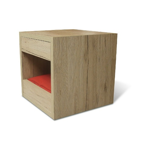Bloq Pet Bed & Side Table - San Remo Oak