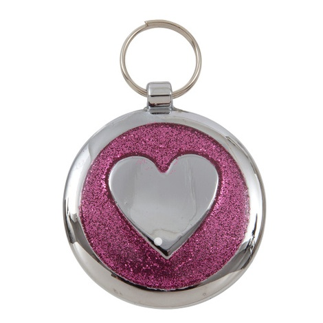 Shimmer Pretty Pink Heart Pet ID Tag