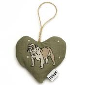 Mutts & Hounds - Dogs Linen Lavender Heart Green - Bulldog