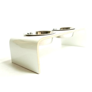 White Raised Dog Bowl Holder