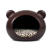 GuisaPet - Medium Brown Dog Cave with Animal Print Cushion