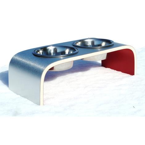 Red & Aluminium Pet Feeder