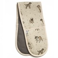 Dogs Linen Oven Gloves - Natural