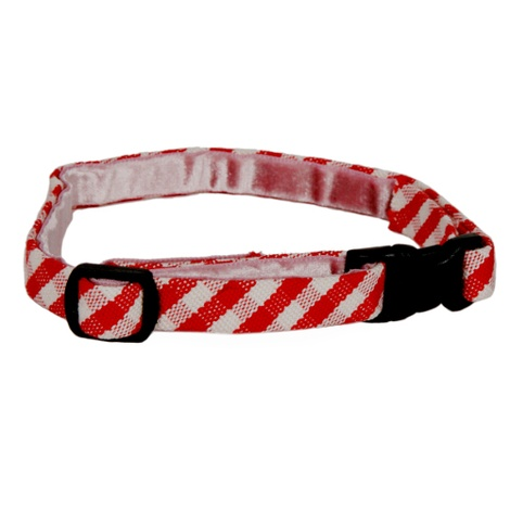 Stripey Red Gingham Cat Collar