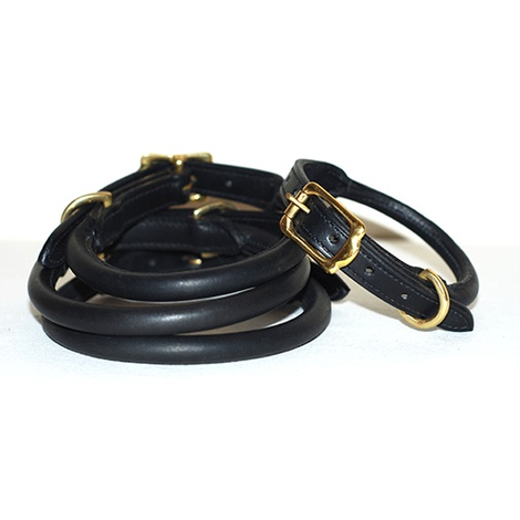 Rolled Leather Dog Collar - Black
