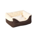 Cream Faux Fur & Suede Square Snuggle Dog Bed