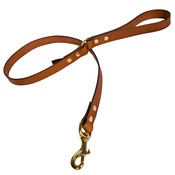 Creature Clothes - Plain Leather Dog Lead - Tan with Brass