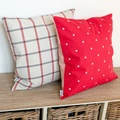 Cranberry Star Cotton with Red Ticking Stripe Cushion  2