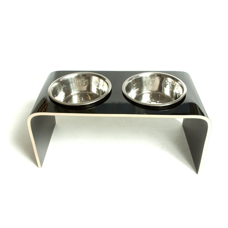 Black Raised Dog Bowl Holder 2