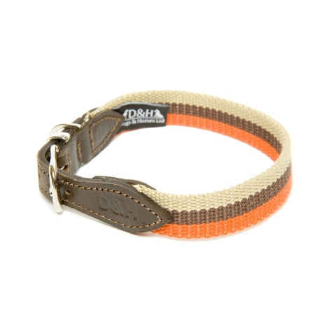 Orange, Brown & Cream Wide Striped Webbing Collar