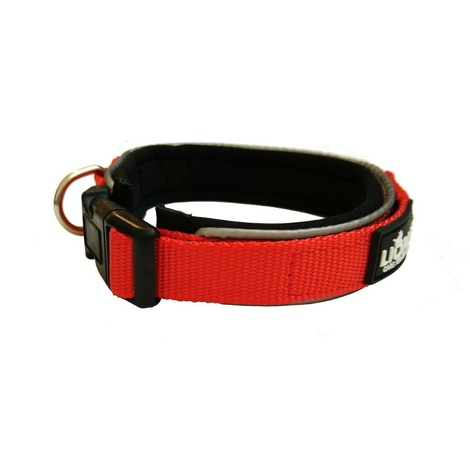 Liopard Padded Nylon Dog Collar – Red