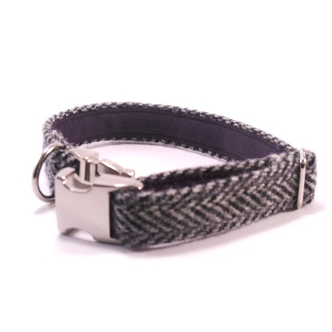 Grey Herringbone Harris Tweed Collar