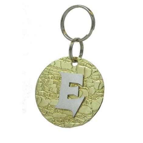 Alphabet Dog ID Tag - Plain silver on textured brass