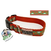 SpiffyDog - Hawaiian Flower Pattern Red Dog Collar