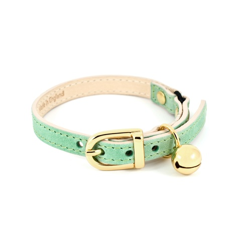 Baby Green Leather Cat Collar 2