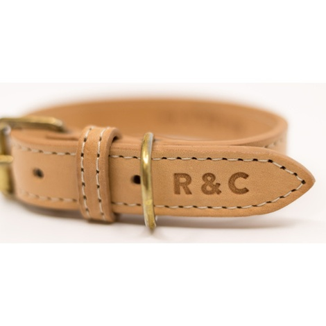 Leather Dog Collar (Trieste) - Light Tan 2