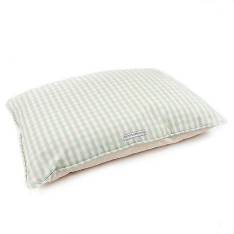 Mint Check Cotton Pillow Bed 2