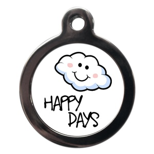 Happy Cloudy Days Dog ID Tag