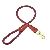 Clementine est. Dogs - Cecily Rope & Leather Dog Lead – Burgundy