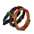 Handmade Rolled Leather Dog Collar - Black