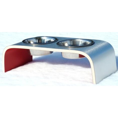 Red & Aluminium Pet Feeder 2