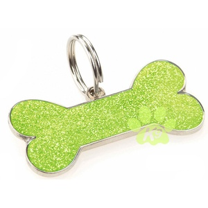 Glitter Bone ID Tag - Lime Green