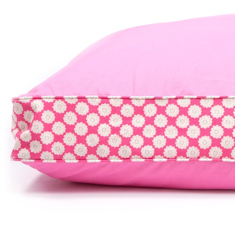 Two Tone Dog Bed - Pink & Daisy Stripe