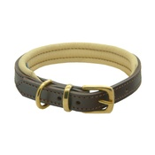 Dogs & Horses - Brown & Cream Colours Leather Collar