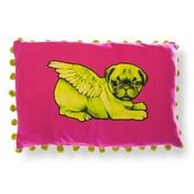 Pugs Might Fly - Biddy Pug Cushion Cover - Neon Pink with Green Pug